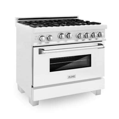 """ZLINE 36"""" 4.6 cu. ft. Range with Gas Stove and Gas Oven in DuraSnow® Stainless Steel and White Matte Door (RGS-WM-36)"""
