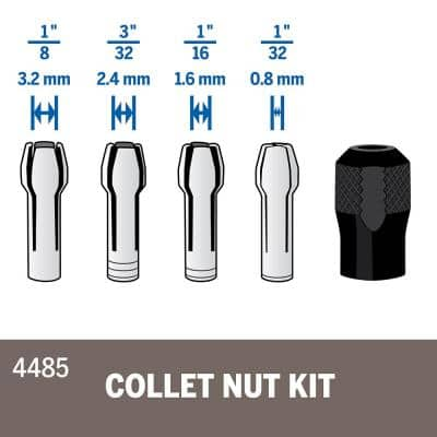 Rotary Tool Quick Change Collet Nuts (5-Piece)