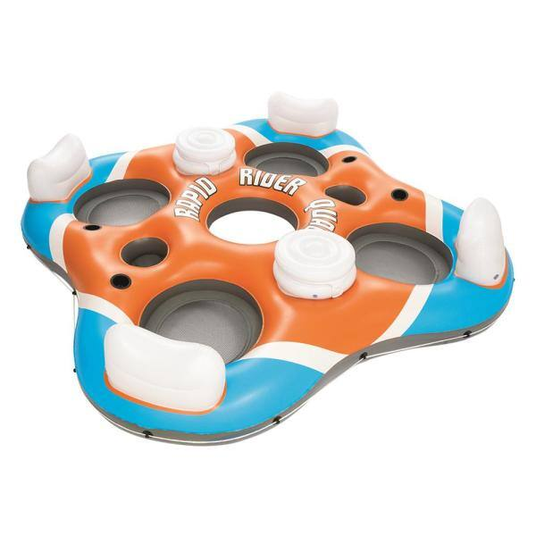 Bestway 43115E Rapid Rider 4 Person Floating Island Raft with Coolers for sale online