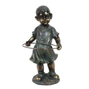 9.5 in x 19.5 in. Bronze Look Girl with Hula Hoop Garden Statue