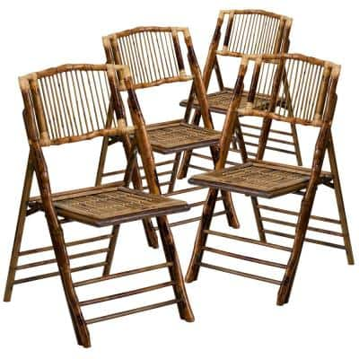 Bamboo Wood Folding Chair (4-Pack)
