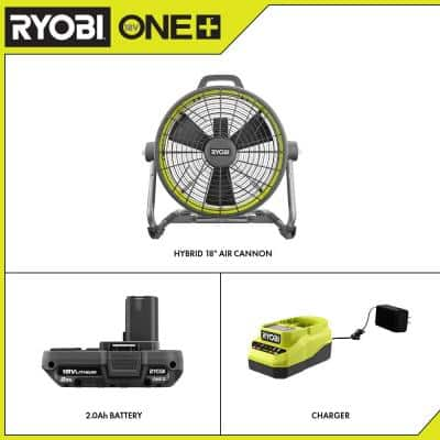 ONE+ 18V Hybrid 18 in. Air Cannon Drum Fan with 2.0 Ah Battery and Charger