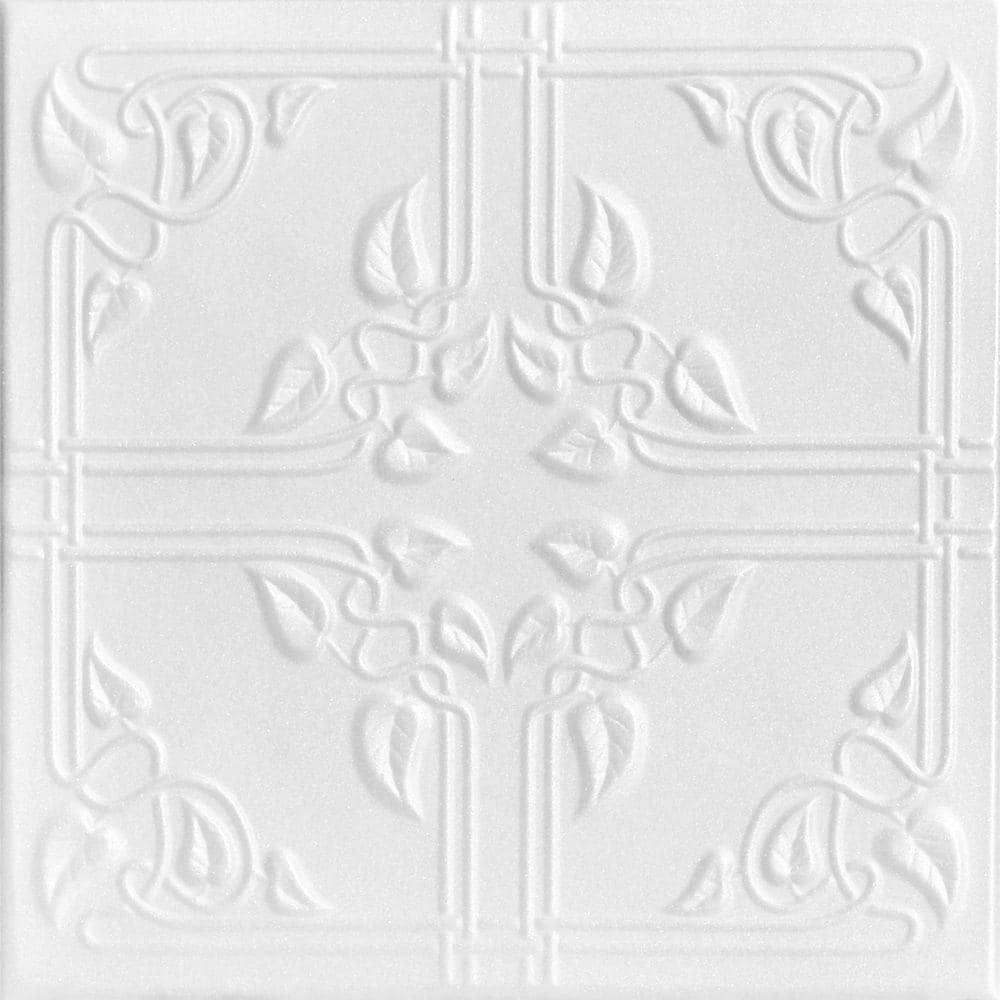 A La Maison Ceilings Ivy Leaves 1 6 Ft X 1 6 Ft Glue Up Foam Ceiling Tile In Plain White 21 6 Sq Ft Case R37pw 8 The Home Depot