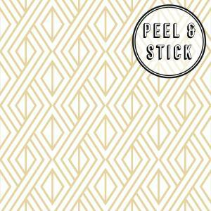 Diamond Geo Gold/White Vinyl Peelable Roll (Covers 30.75 sq. ft.)