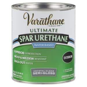 1 qt. Clear Semi-Gloss Water-Based Outdoor Spar Urethane (2-Pack)