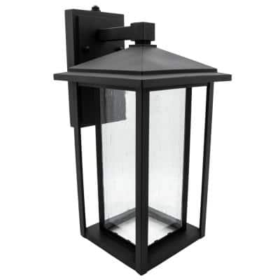 1-Light Black LED Outdoor Wall Lantern Sconce with Seeded Glass and Dusk to Dawn Sensor