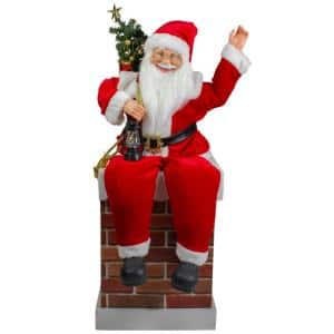 32 in. Santa Delivering Presents Down a Smokestack Chimney Christmas Decoration