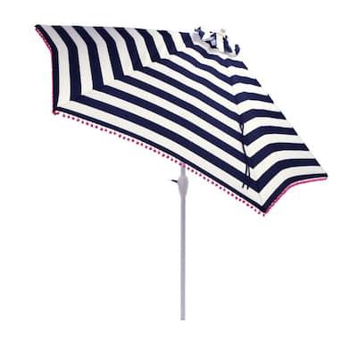 9 ft. Aluminum Market Tilt Patio Umbrella in Black Cabana Stripe with Pom Trim