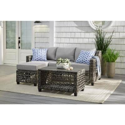 Briar Ridge 3-Piece Brown Wicker Outdoor Patio Sectional Sofa with CushionGuard Stone Gray Cushions