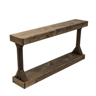 Barb 59 in. Dark Walnut Rectangle Wood Console Table with Storage