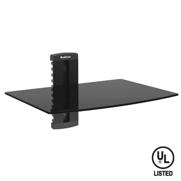 Qualgear Universal Single Shelf Wall Mount For A V Components Black Qg Db 001 Blk The Home Depot