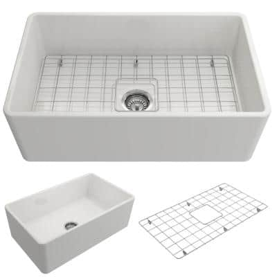 Classico Farmhouse Apron Front Fireclay 30 in. Single Bowl Kitchen Sink with Bottom Grid and Strainer in White