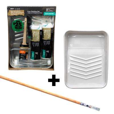 6-Piece Microfiber Paint Tray Kit + 4 ft. Wood Ext. Pole with Metal Tip + 9 in. Plastic Tray Liner