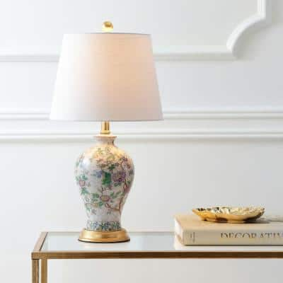 Grace 24 in. Multi/Brass Floral Table Lamp