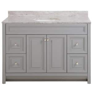 Brinkhill 49 in. W x 22 in. D Bath Vanity in Sterling Gray with Stone Effect Vanity Top in Winter Mist with White Sink