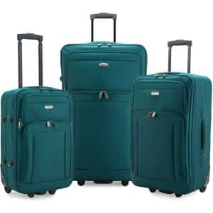 U S Traveler New Yorker 3 Piece Black Rolling Luggage Set Large And Small Suitcases And Tote Bag Us6300k3 The Home Depot