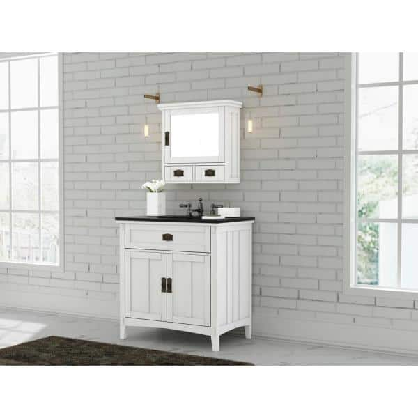 Home Decorators Collection Artisan 33 In W Vanity In White With Marble Vanity Top In Natural Black With White Sink Md V1758 The Home Depot