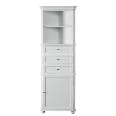 Hampton Harbor 23 in. W x 13 in. D x 67-1/2 in. H Corner Linen Cabinet in White