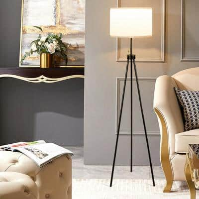 60.5 in. White Outdoor Tripod Floor Lamp with Chain Switch