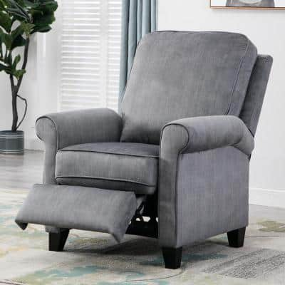 34 in. Width Big and Tall Blue/Gray Fabric 3 Position Manual Recliner