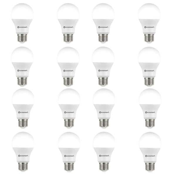 Ecosmart 60 Watt Equivalent A19 Non Dimmable Led Light Bulb Soft White 16 Pack B7a19a60wul18 The Home Depot