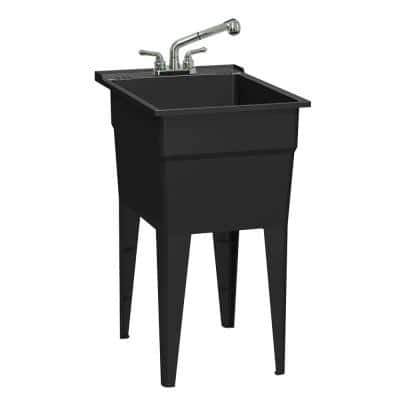 18 in. x 24 in. Recycled Polypropylene Black Laundry Sink with 2 Hdl Non Metallic Pullout Faucet and Installation Kit