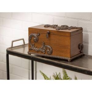 Brown Wood Box with Metal on Base