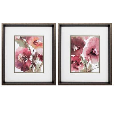 """17 in. x 19 in. """"Blooms PK/2"""" Framed Wall Art"""
