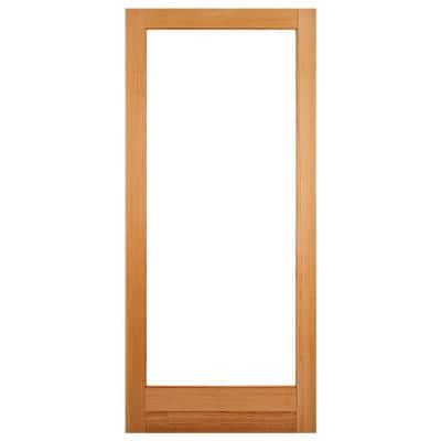 32 in. x 80 in. Solid Core 1 Lite Clear Glass Unfinished Fir Wood Interior Door Slab