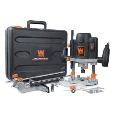 15 Amp Variable Speed Plunge Wood Working Corded Router Kit with Carrying Case and Edge Guide
