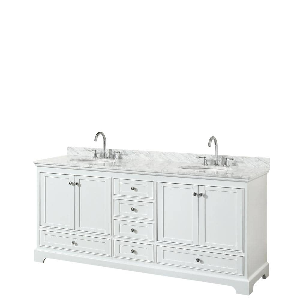 Wyndham Collection Deborah 80 In Double Bathroom Vanity In White With Marble Vanity Top In White Carrara With White Basins Wcs202080dwhcmunomxx The Home Depot