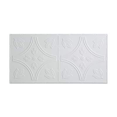 Traditional #5 2 ft. x 4 ft. Glue Up Vinyl Ceiling Tile in Gloss White (40 sq. ft.)
