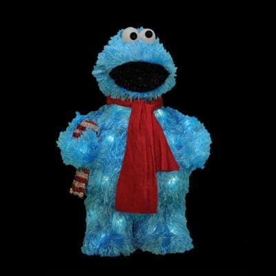 18 in. Pre-Lit Sesame Street Cookie Monster with Candy Cane