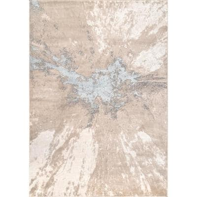Contemporary Abstract Cyn Beige 3 ft. x 5 ft. Area Rug