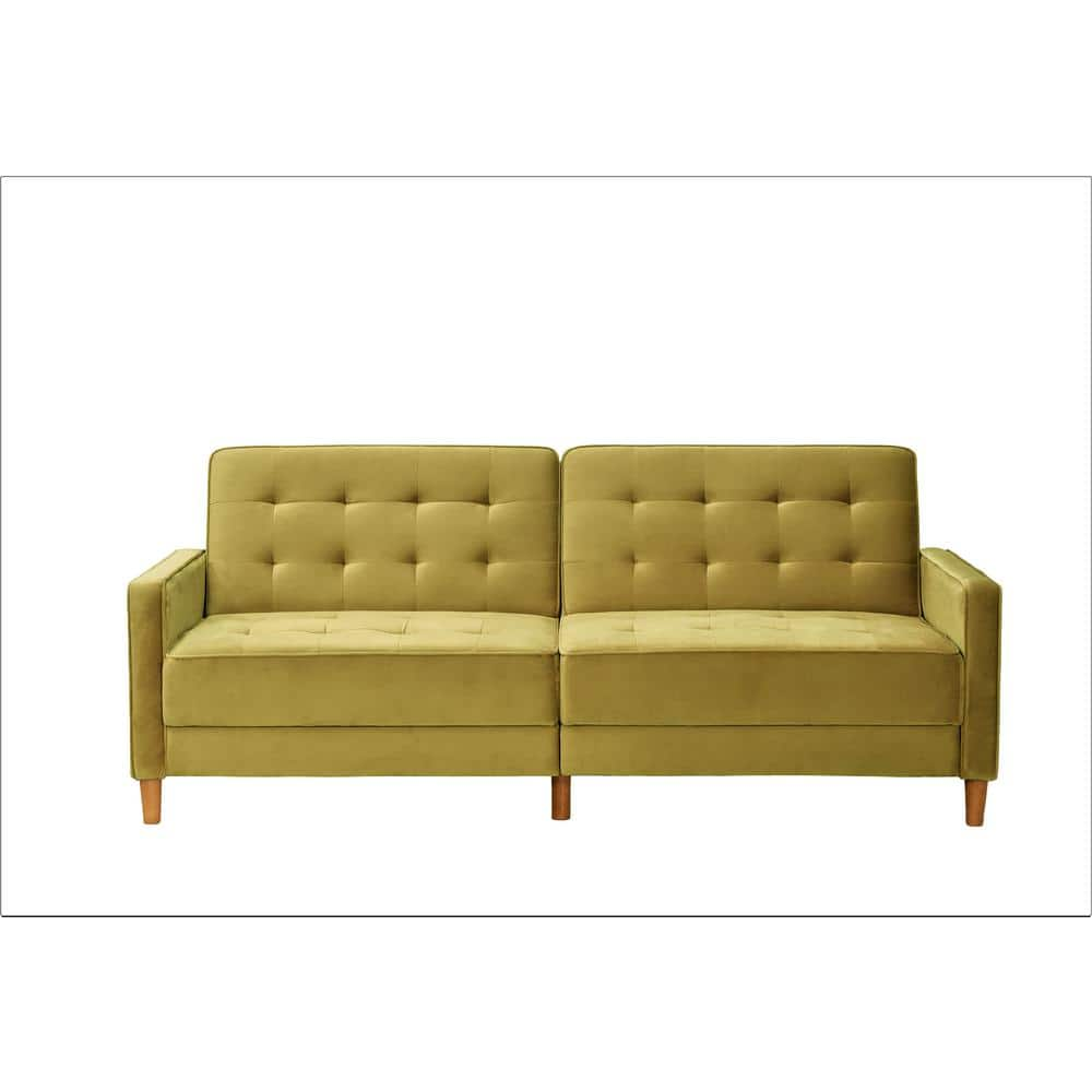 Us Pride Furniture Jonathan 80 In Vivid Yellow Tufted Velvet 2 Seater Twin Sleeper Sofa Bed With Square Arms Sb9080 The Home Depot