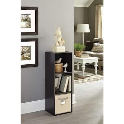 36 in. H x 12 in. W x 12 in. D Espresso Wood Look 3-Cube Storage Organizer