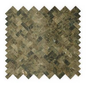 Moka Brown 12.09 in. x 11.65 in. x 5mm Stone Self Adhesive Mosaic Wall Tile (11.76 sq. ft. / case)