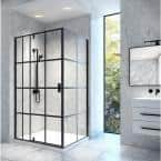 Jana 48 in. x 75 in. Framed Pivoting Shower Door Enclosure and Base Kit with Clear Glass in Matte Black