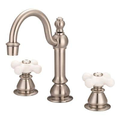 Vintage Classic 8 in. Widespread 2-Handle High Arc Bathroom Faucet with Pop-Up Drain in Satin Nickel
