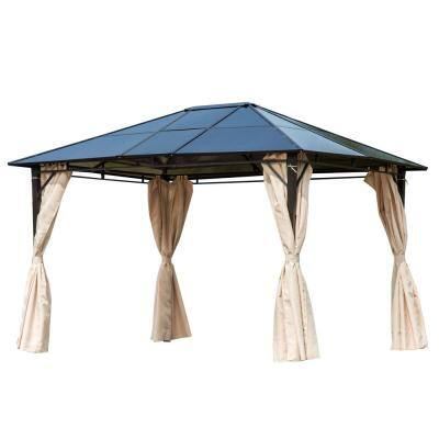 10 ft. x 12 ft. Outdoor Steel Frame Gazebo with Twin-Wall Polycarbonate Hardtop Roof and Removable Curtains