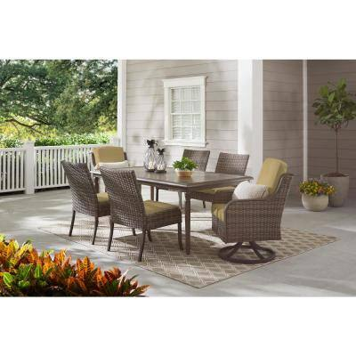 Windsor Brown Wicker Outdoor Patio Swivel Dining Chair with CushionGuard Toffee Tan Cushions (2-Pack)