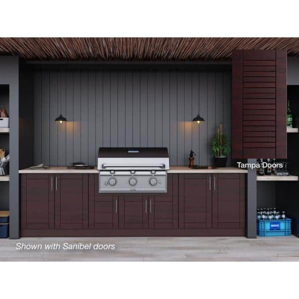 Weatherstrong Tampa Mahogany 17 Piece 121 25 In X 34 5 28 Outdoor Kitchen Cabinet Set Wse120wm Tmh The Home Depot