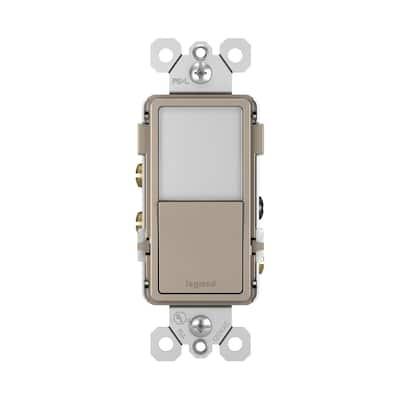 radiant 15 Amp 120-Volt Single-Pole/3-Way Rocker Light Switch with Night Light, Nickel