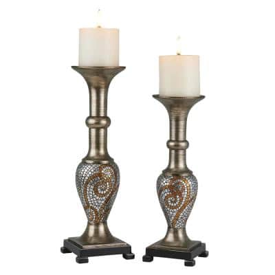 Bronze & Silver Theos Polyresin Candleholders (Set of 2)