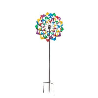84 in. Multi-Color Flower Wind Powered Lighted Wind Spinner