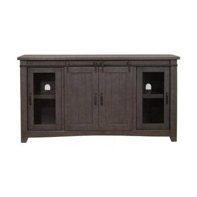 Sierra Gray Metal TV Stand Fits TVs Up to 70 in. with Adjustable Shelves