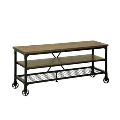 16 in. Brown and Black Wood TV Stand Fits TVs Up to 54 in. with Wheels