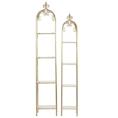 74 in. and 65 in. H Gold Metal Contemporary Shelving Unit (Set of 2)