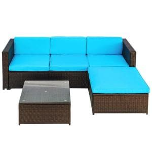 Julie Brown 5-Piece Wicker Patio Furniture Sofa Set with Blue Cushions