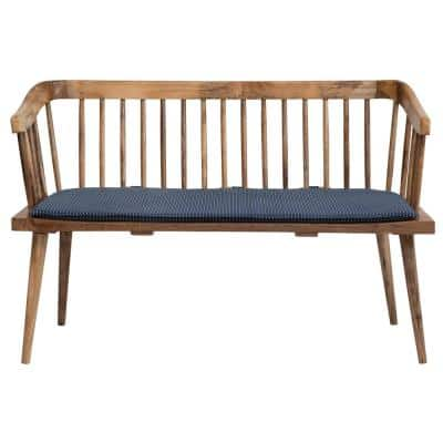 Blue Mango Wood Bench with Printed Cotton Cushion